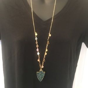 """19"""" Gold and Green Stone Necklace"""